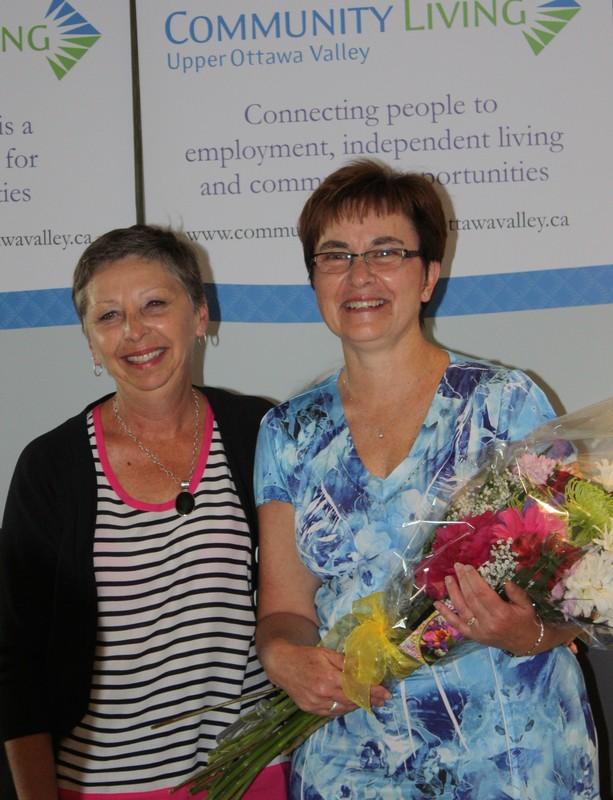 <b>Donna Locke congratulates Grace Brum on 35 years of service</b>