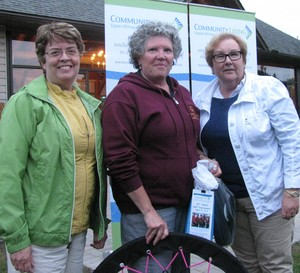 <b>Board Members Holly Woermke & Shelley O'Malley congratulation Raffle Winner & Board Member Pat Durston</b>