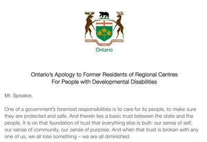 <b>Ontario Government Apology</b>